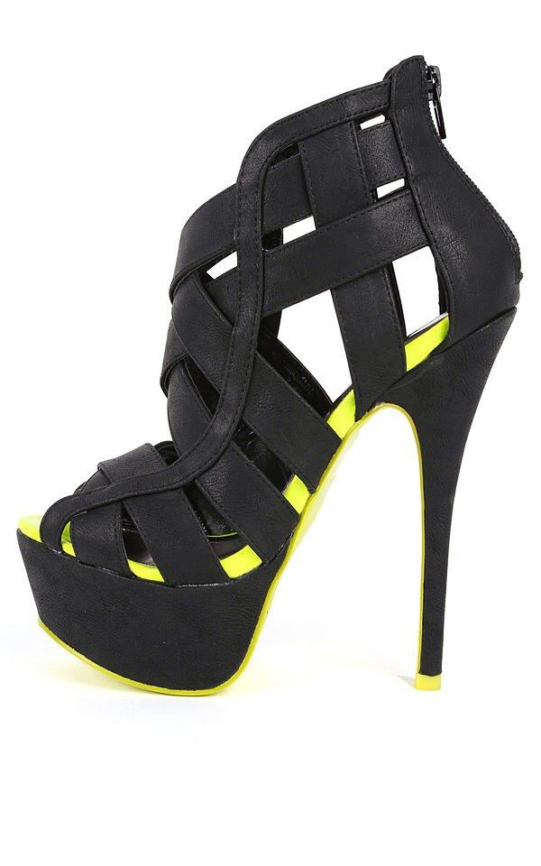 shoes high heels black high heels yellow high heels black and yellow