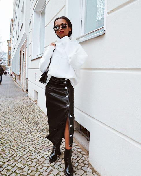 skirt tumblr midi skirt black skirt button up button up skirt boots black boots ankle boots top white top sunglasses