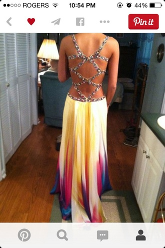 dress multicolor prom dress jewels