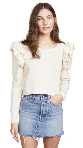 sweatshirt crop sweatshirt cream sweater