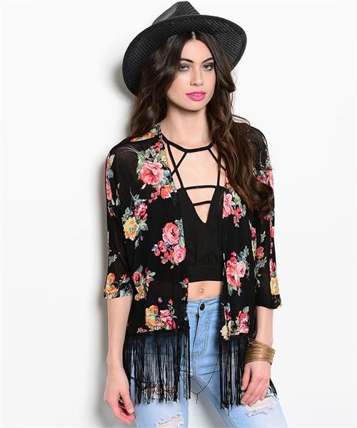 Black flower kimono cardigan