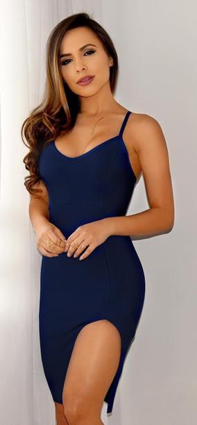 088557b232dc dress dream it wear it dress clothes clothes blue blue dress navy dress  slit dress bodycon