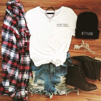 blouse flannel shirt short shorts ripped shorts tumblr shirt graphic tee beanie black combat boots combat boots choker necklace