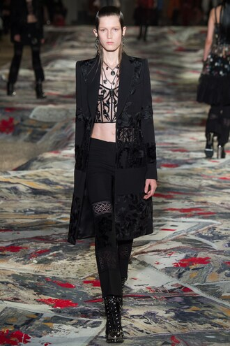 underwear bustier top all black everything crop tops alexander mcqueen runway paris fashion week 2016 lingerie lace