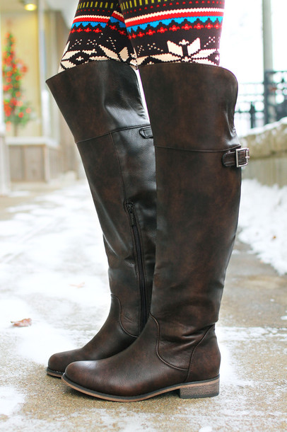 Shoes: boots, riding boots, knee high boots, brown leather boots ...