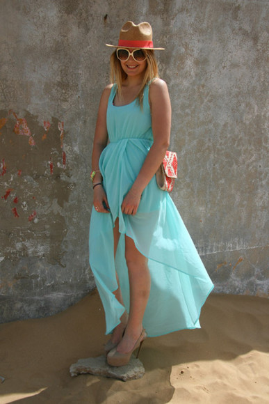 Lovely long blue turquoise dress