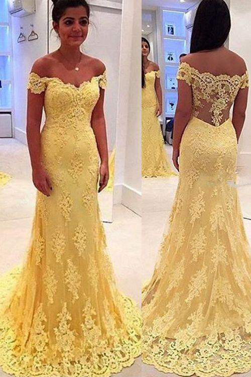 2016 Yellow Evening Dresses Long Capped Appliques Lace Evening Wear ...