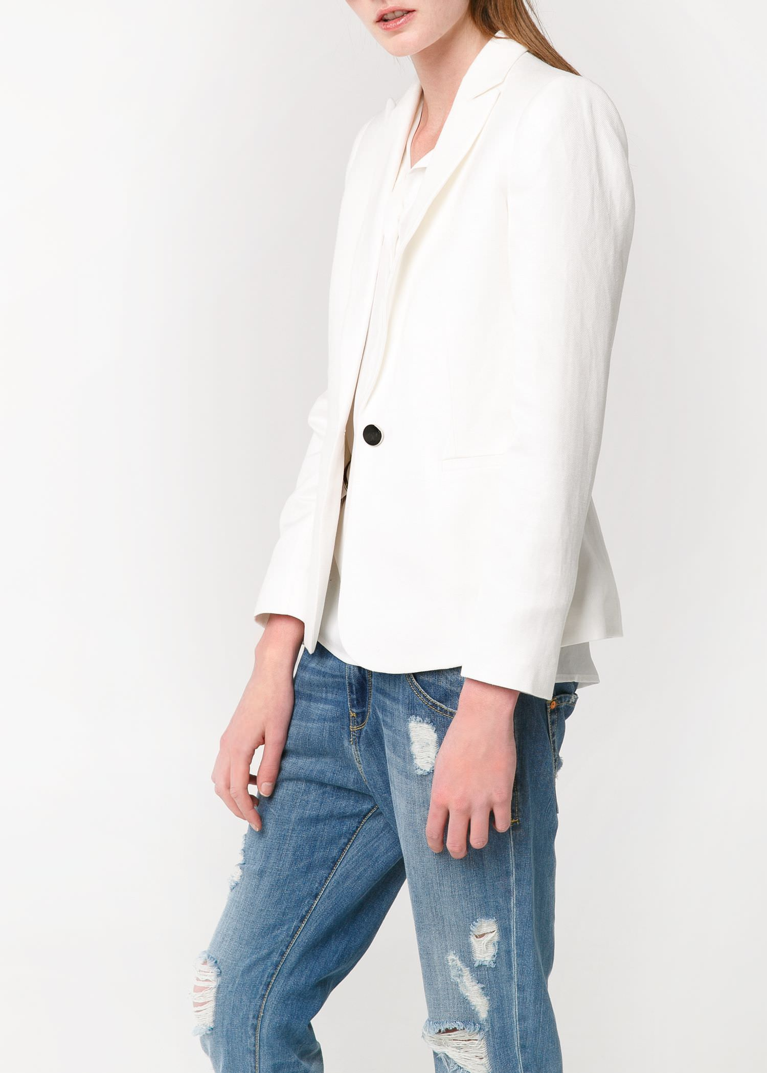 Linen-blend blazer - Jackets for Women | MANGO