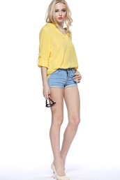 top,yellow top,v neck blouse,long sleeve shirt,sexy top,summer top,fashion top,maykool,girl,tumblr