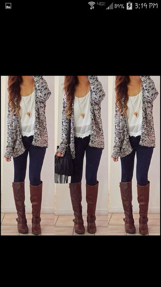 skinny jeans shoes cardigan blouse necklace boots outfit