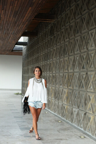 blogger seams for a desire scarf cut-out shoulder top shorts fringed bag