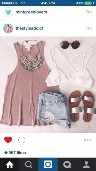sunglasses tank top statement necklace necklace shorts round sunglasses bralette white burgundy jewels jewelry statement silver silver necklace
