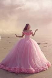 dress,pink dress,prom dress,prom,pink,dance,fancy,princess,princess dress,pink prom dress,wedding dress,goals,quinceanera dress,pink ball gown,big puffy pink dress,floral dress,poofy dress,puffy dress,poofy ball gown,cinderella,cinderella dress,cinderella dresses,tulle skirt,tulle dress,ball gown dress,light pink,princess ball gown,poofy pink dress