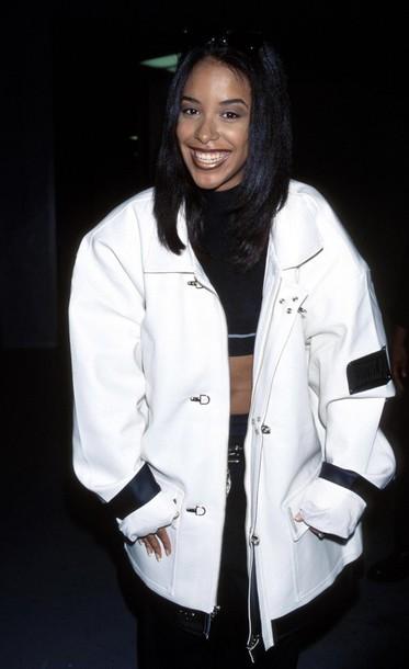 jacket baggy r&b street 90s style vintage 90s style aaliyah haughton