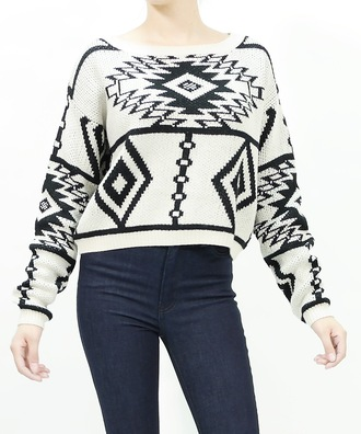 top fall outfits sweater top trendy trends trend stylish aztec tribal pattern ivory girly winter sweater