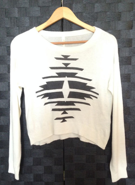 sweater aztec white sweater