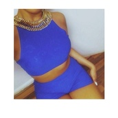 tank top,cobalt blue,two-piece,sleeveless crop top,bodycon,shorts,summer,embossed,pattern,jewels,gold,chain,collar,necklace,romper