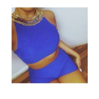 tank top cobalt blue two piece sleeveless crop top bodycon shorts summer embossed pattern jewels gold chain collar necklace