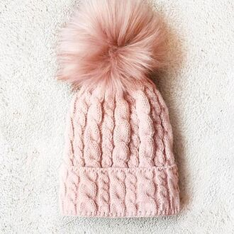 hat yeah bunny pom poms pastel pink pale winter outfits pompom hat