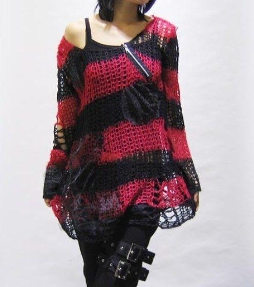 Punk Rave Loch Strick Pullover Viusal Kei J-Rock Punk Top Shirt Gothic #3161 002 | eBay