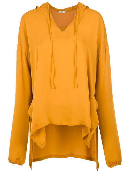 EGREY blouse women silk yellow orange top