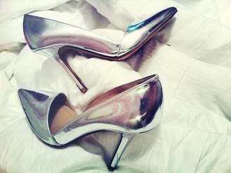 grey shoes metallic shoes