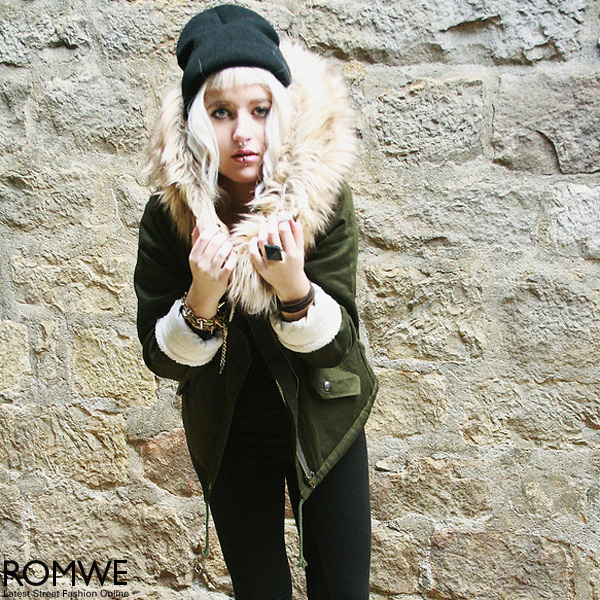 ROMWE | Hooded Pocketed Navy-green Coat, The Latest Street Fashion