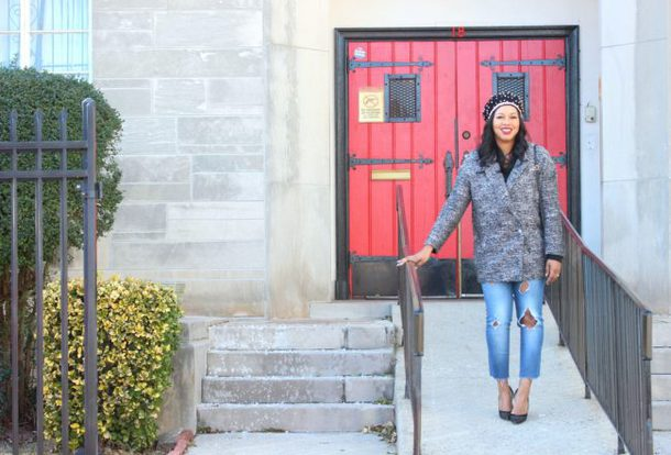 babyshopaholic blogger jacket hat shoes blazer grey jacket beret pumps winter outfits