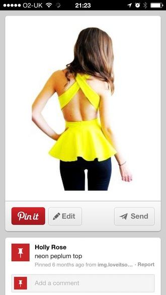 top classy yellow top neon cross crossed back fashion