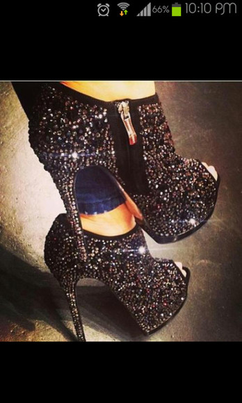 shoes high heels open toes booties black platform