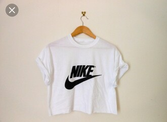 top nike white t-shirt crop tops