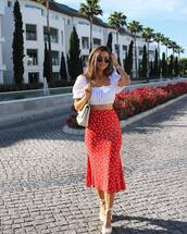 top,skirt,red skirt,midi skirt,crop topw,white top,shoes
