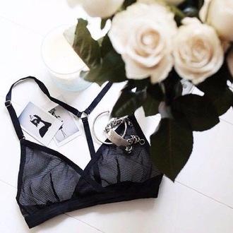 underwear mesh lingerie black bra bralette