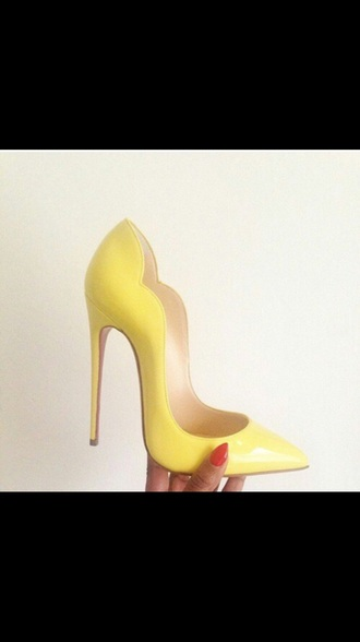 shoes yellow heel heels pumps pointy toe heels high heels yellow shoes