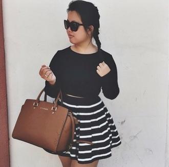skirt striped skirt crop tops