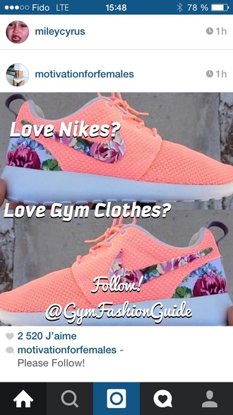 shoes flowers nike shoes coral shoes