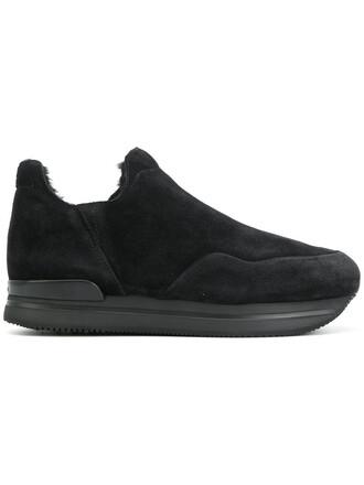 fur women sneakers platform sneakers suede black shoes
