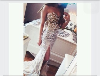 dress gems slit long strapless