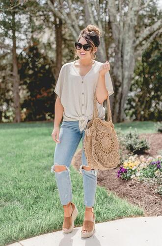 life & messy hair blogger top t-shirt shoes jewels bag summer outfits spring outfits ripped jeans wedges