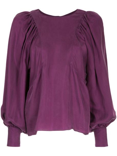 Des Pres blouse women purple pink top