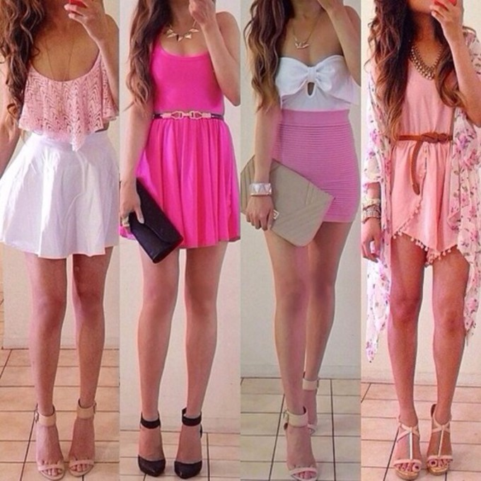 Cute Outfits With a White Dress Shirt Dress Skirt Pink Shirt White