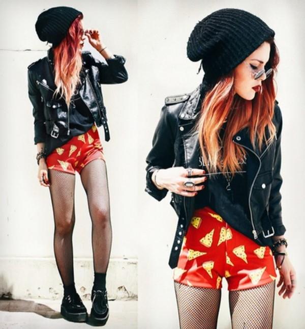 shorts lookbook fashion blackmilk digital print grunge rock chic hippie funny hat jacket