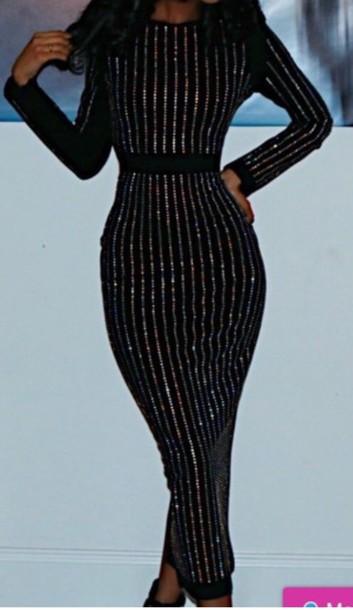 dress, black, black dress, long sleeves, long sleeve dress, midi ...