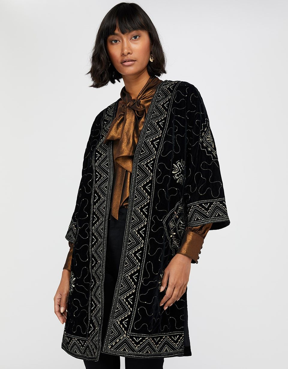 Varena Embroidered Velvet Longline Jacket