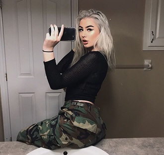 pants camouflage baddies green women's insta baddie