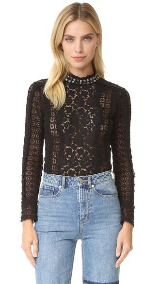 top studded lace black