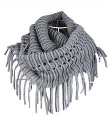 Grey Fringed Knitted Square Infinity Tube Scarf