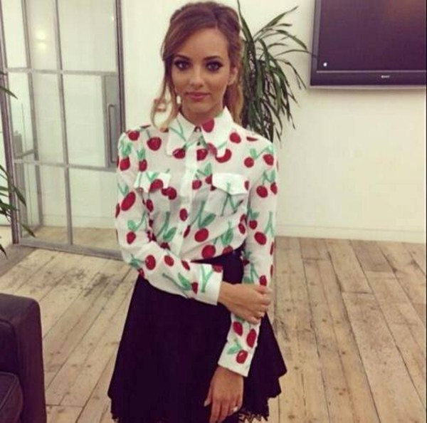 blouse red blouse jade thirlwall jade thirlwall red white top