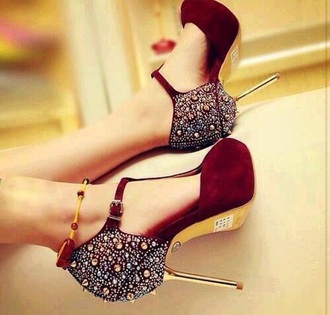 shoes maroo gold spikes diamonds heels