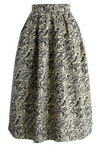skirt twirlling jacquard midi dress chicwish floral skirt midi skirt